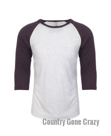 Next Level - Vintage Purple Sleeves with Heather White Body-Country Gone Crazy-Country Gone Crazy