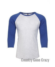 Next Level - Vintage Royal Sleeves with Heather White Body-Country Gone Crazy-Country Gone Crazy
