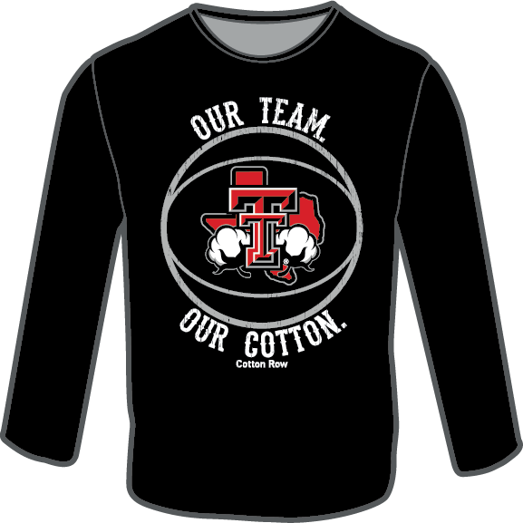 Our Team. Our Cotton. Basketball in Black-Long Sleeve.