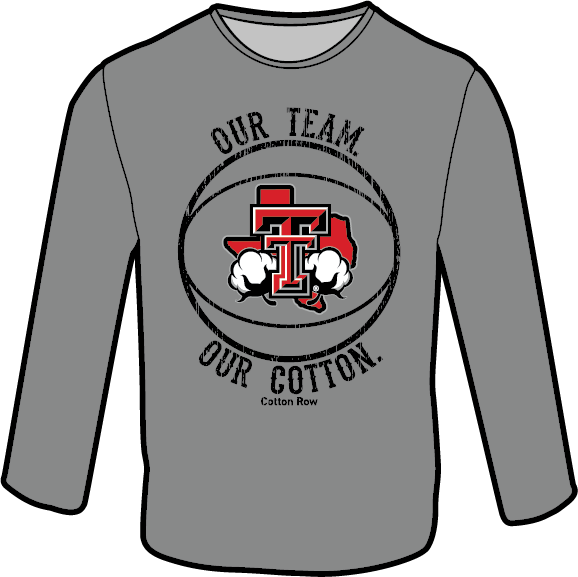 Our Team. Our Cotton. Basketball in Grey-Long Sleeve.