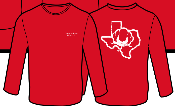 Red with Vintage State in White - Long Sleeve