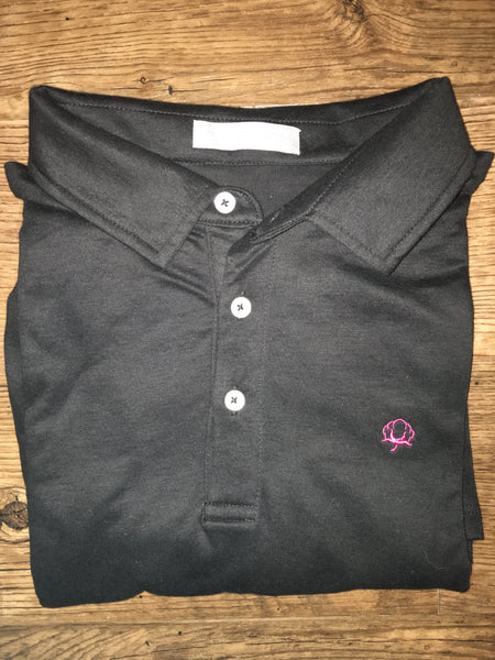 Black Tailgate Polo w/Pink Boll