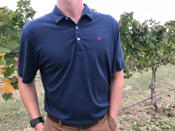 Navy Tailgate Polo w/Pink Boll