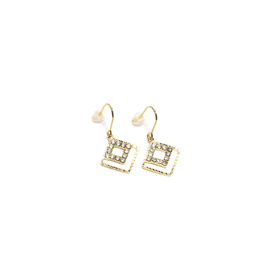 CRYSTAL DOUBLE SQUARE DROP EARRINGS