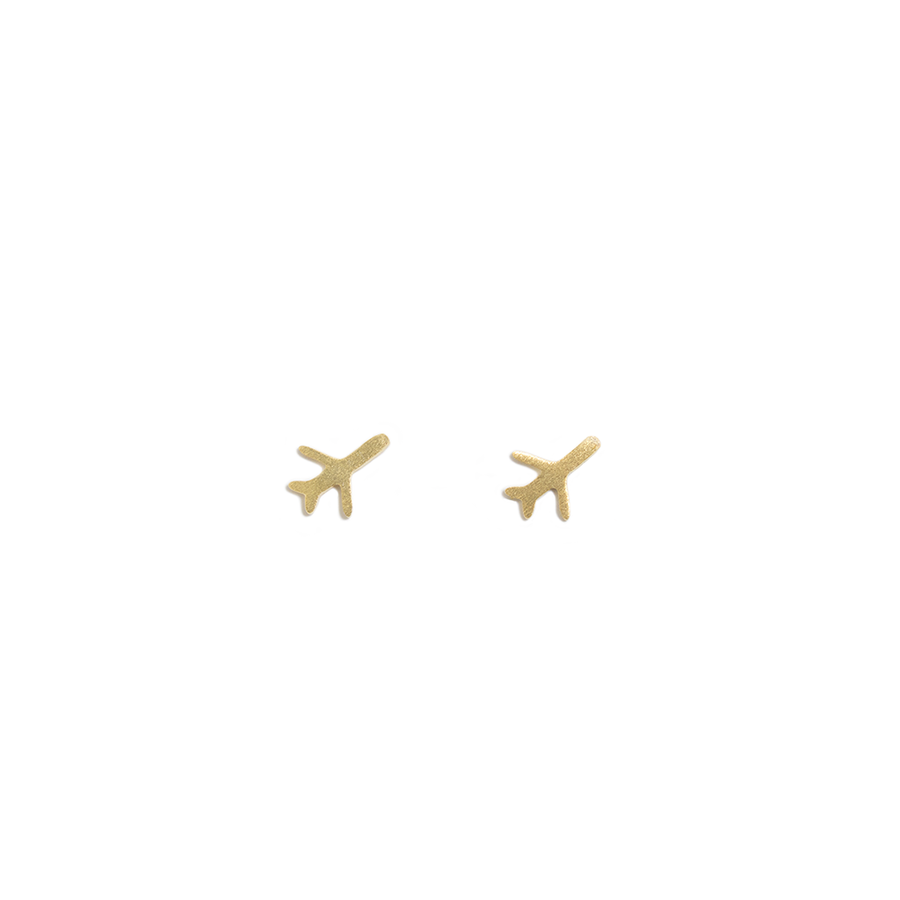 STERLING SILVER AIRPLANE IN GOLD STUD EARRINGS