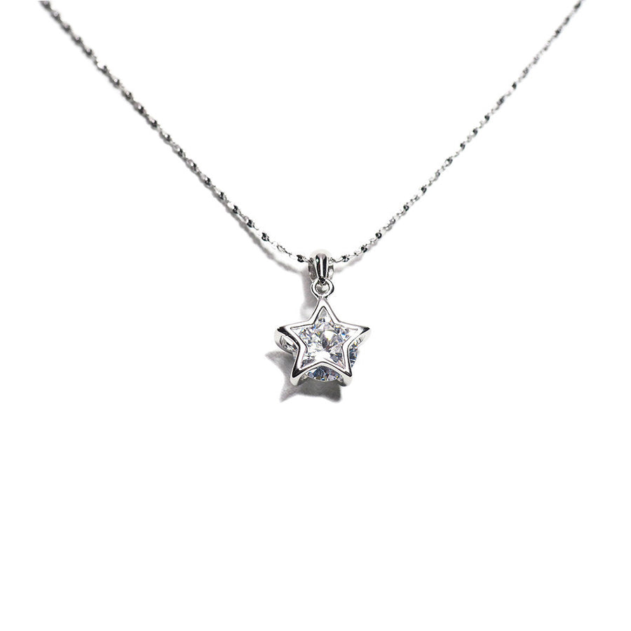 STERLING SILVER BLING SOLITAIRE STAR NECKLACE