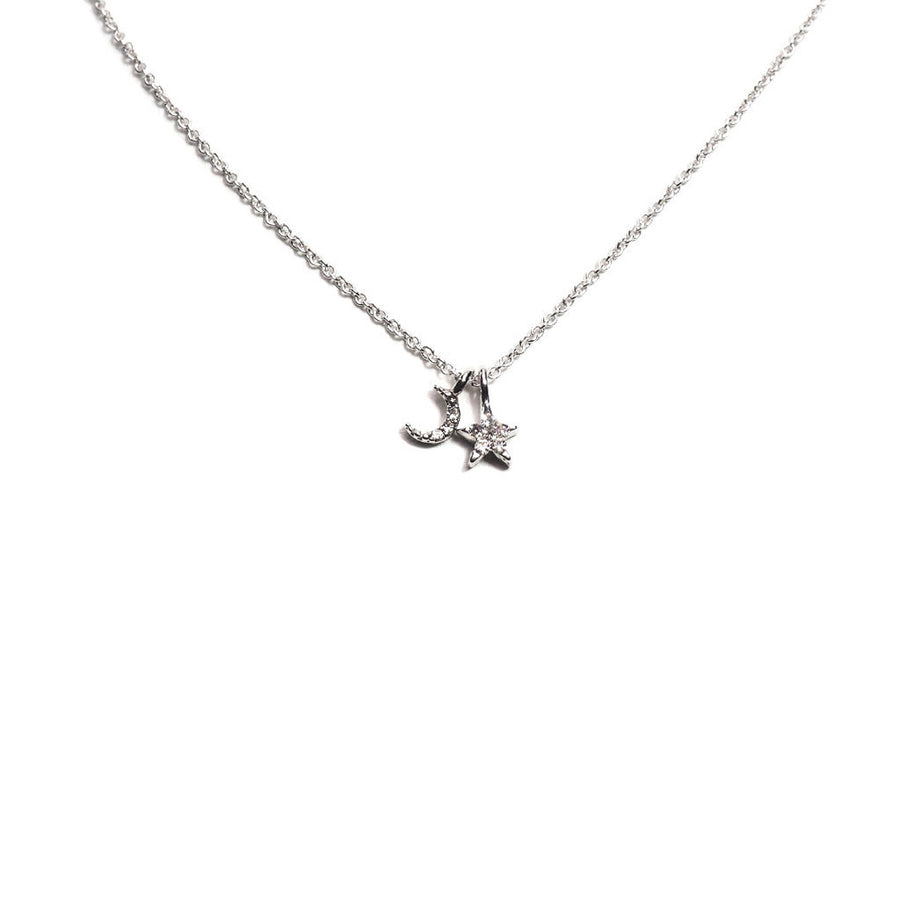 TINY MOON & STAR CHAIN NECKLACE