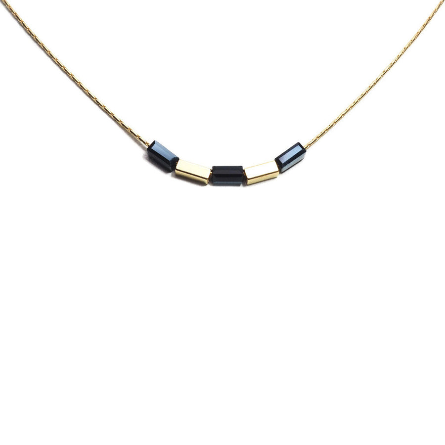DIVIDED COLOUR TUBE FINE NECKLACE