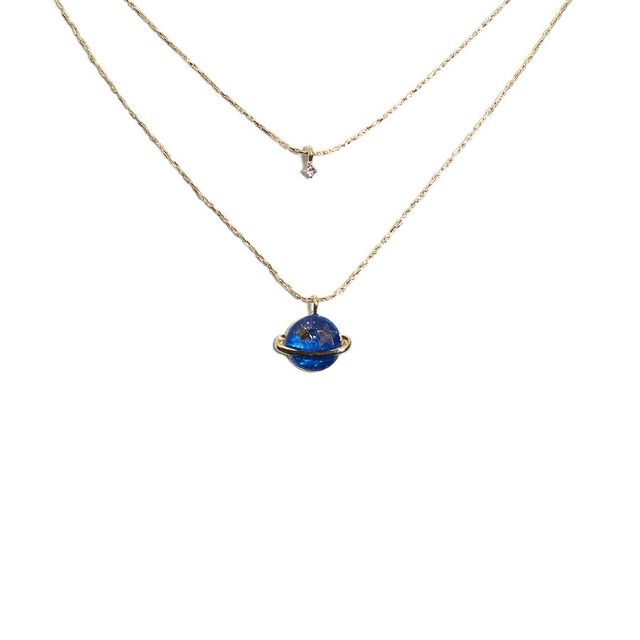 DOUBLE LAYER PLANET PENDANT NECKLACE-Necklace-Meguro