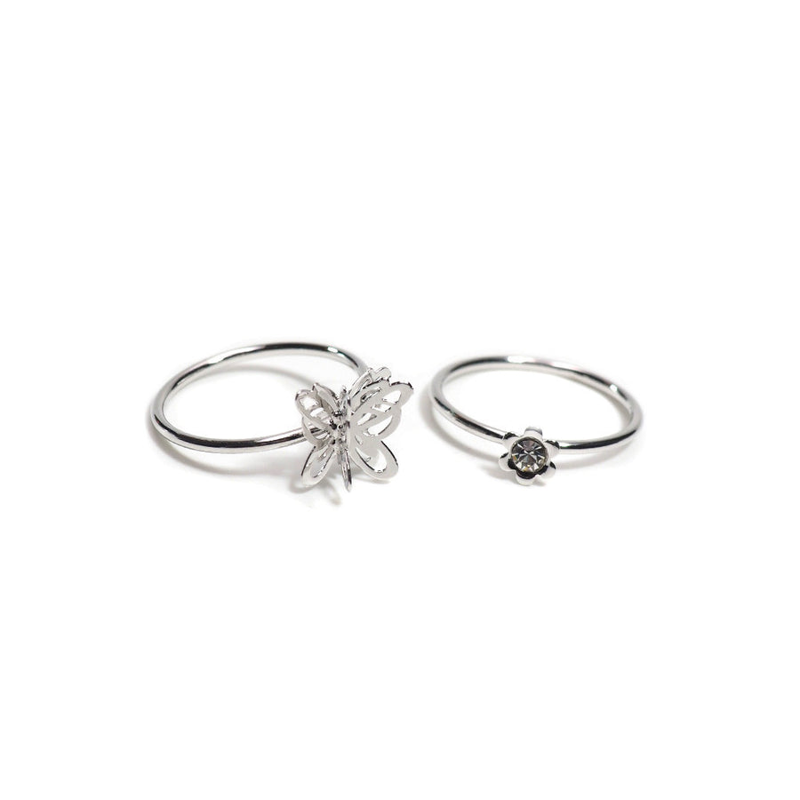 FILIGREE BUTTERFLY 2 PCS PINKY RING SET
