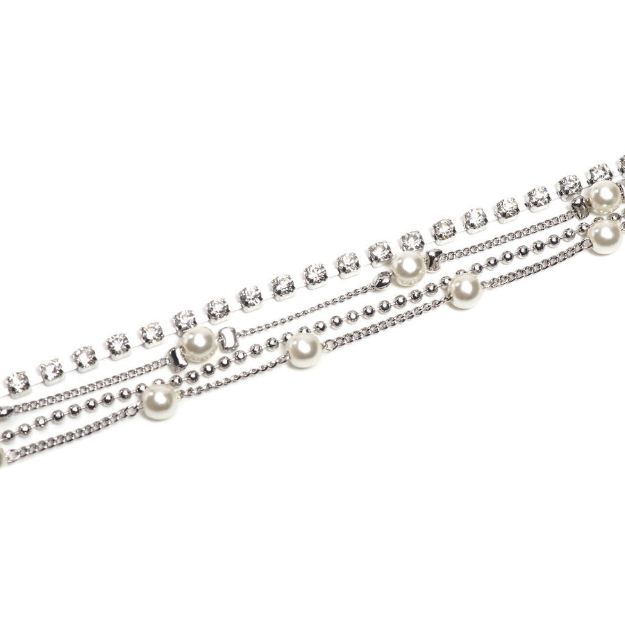 CRYSTAL AND PEARL 4X MULTI CHAIN BRACELET