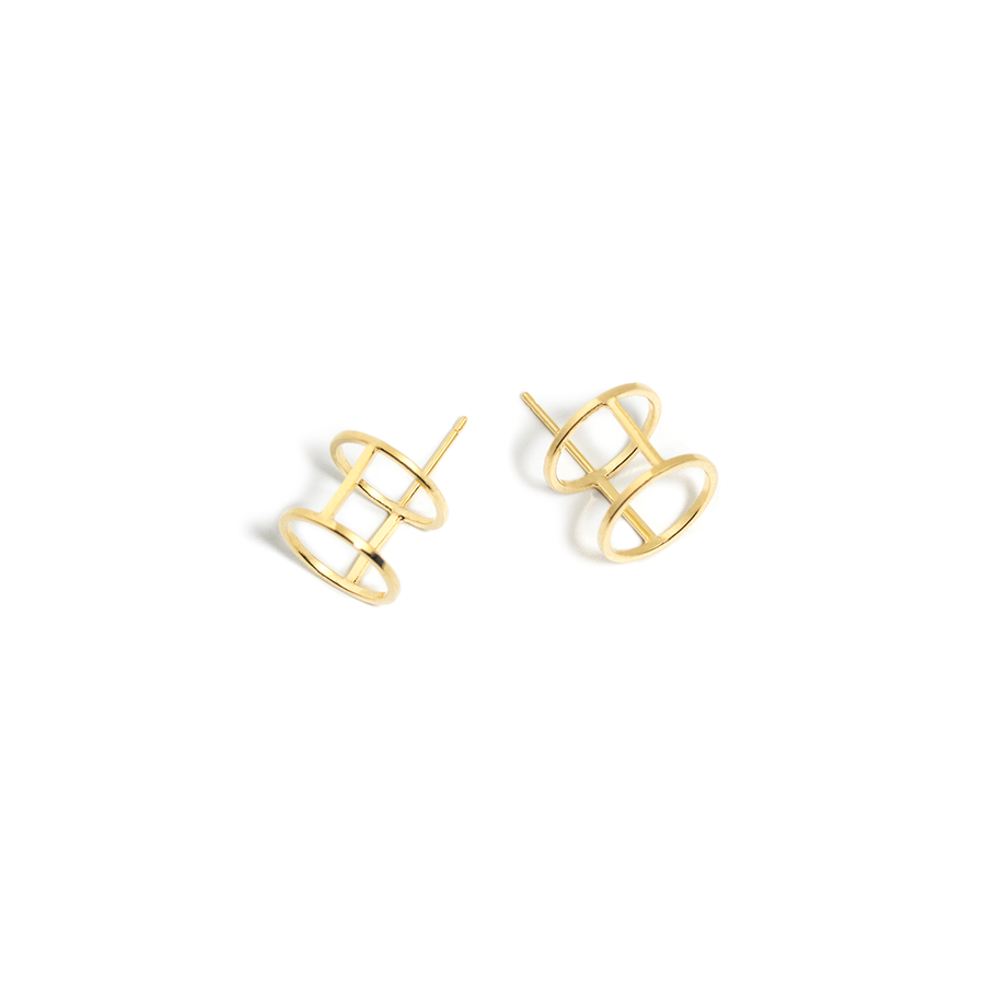 THE DOUBLE CIRCLE STUD EARRINGS