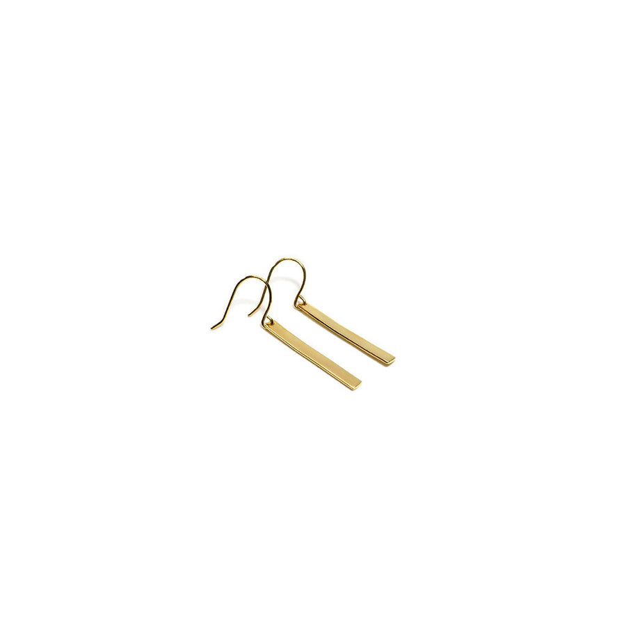 STERLING SILVER SOLID GOLD BAR DROP EARRINGS