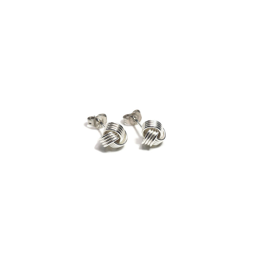STERLING SILVER KNOT STUD EARRINGS-Earring-Meguro