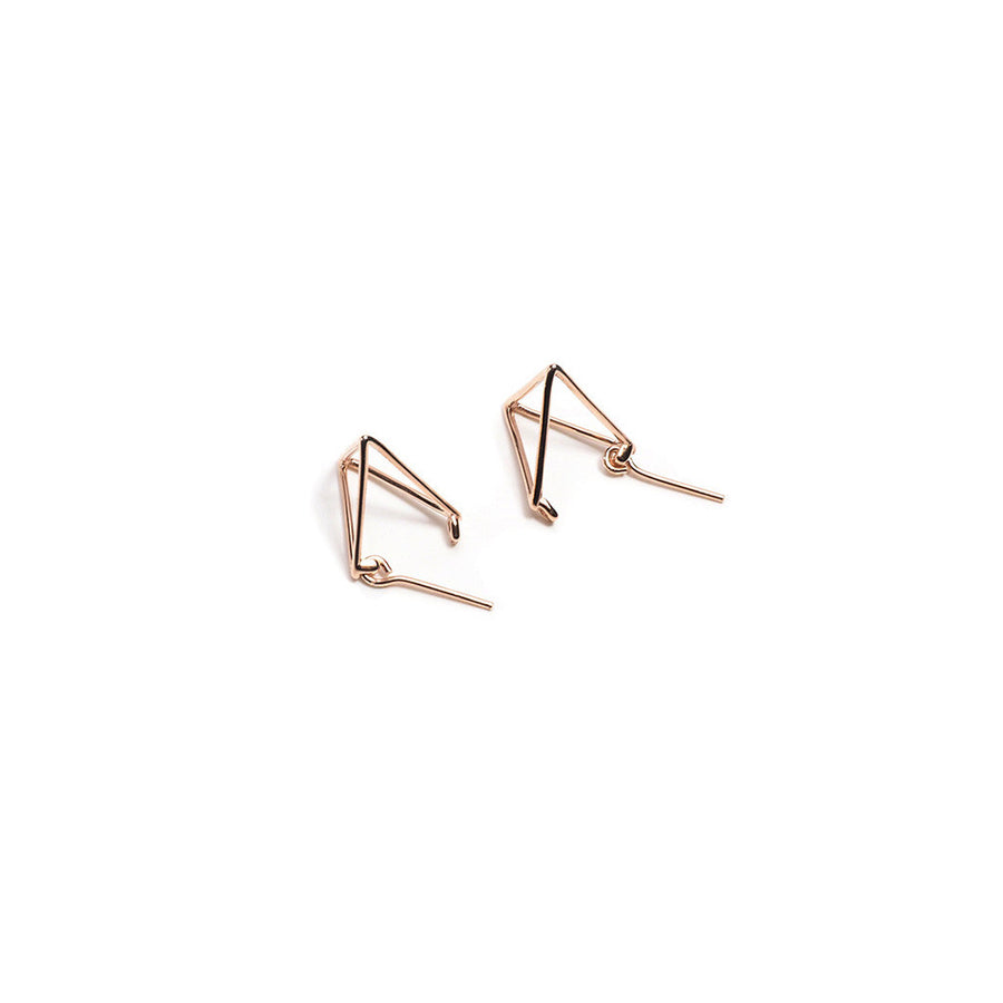 STERLING SILVER PYRAMID FRONT & BACK EARRINGS