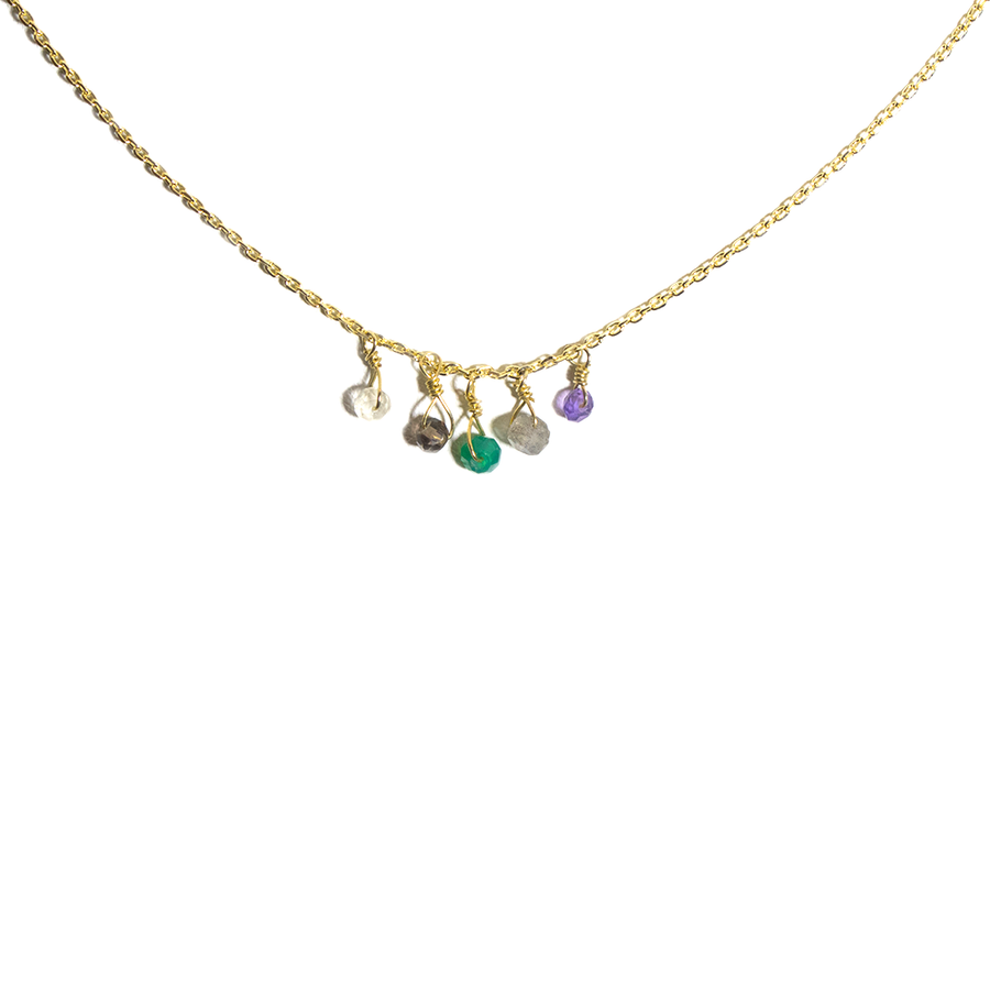 GOLD TONE NATURAL STONE NECKLACE