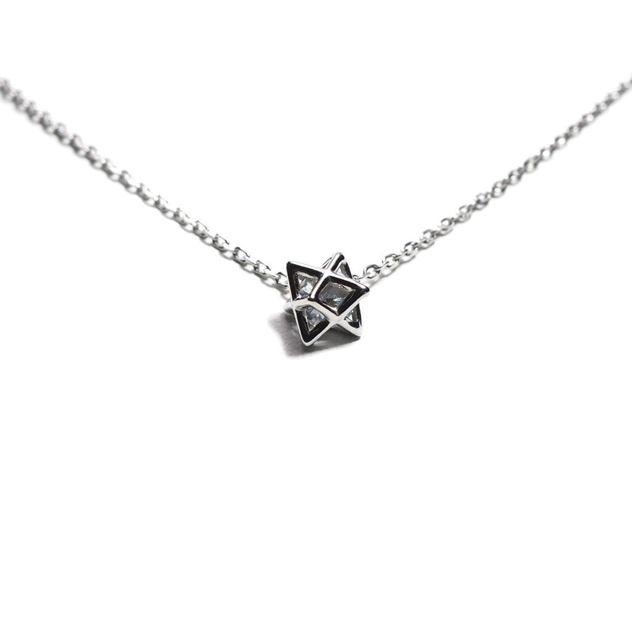 STERLING SILVER GLOWING HEXAGRAM CHAIN NECKLACE-Necklace-Meguro