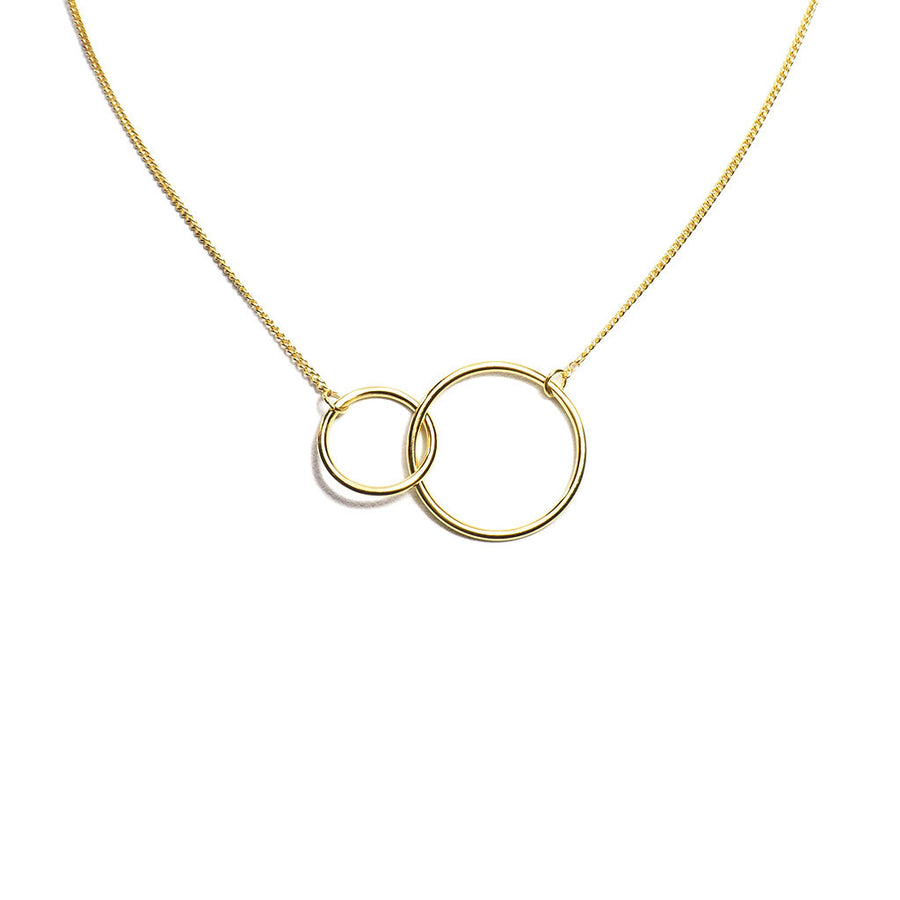 STERLING SILVER GOLD PLATED RING LINKING NECKLACE
