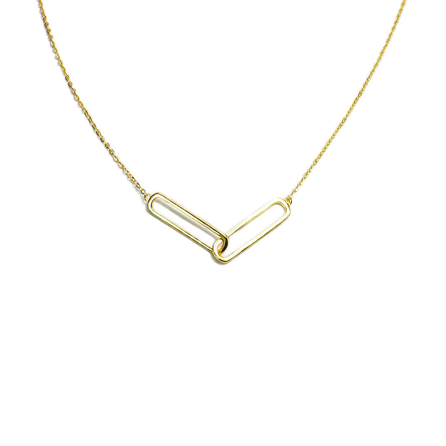 STERLING SILVER GOLD PLATED DOUBLE PIN NECKLACE