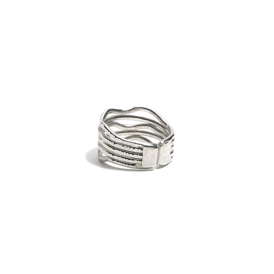 FINE SILVER WAVE BAND WRAP RING