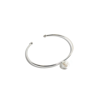 STERLING SILVER DANDELION OPEN BANGLE-Bracelet-Meguro