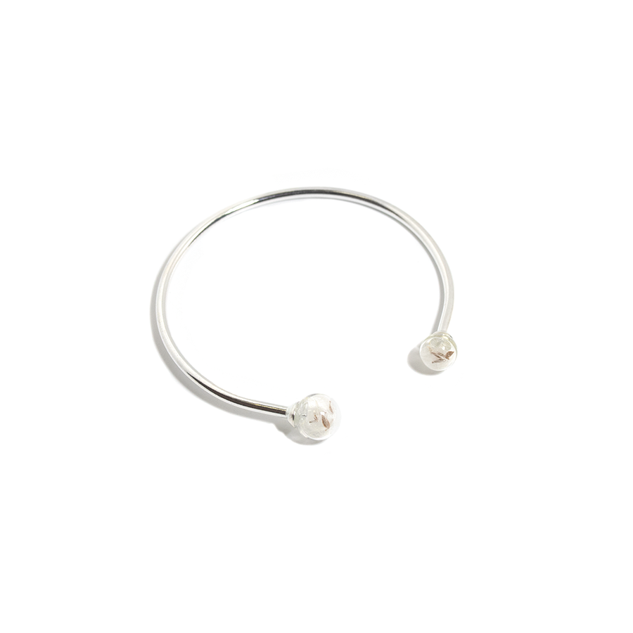 STERLING SILVER DOUBLE DANDELION OPEN BANGLE