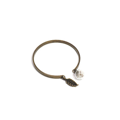 ANTIQUE BRONZE DANDELION OPEN BANGLE-Bracelet-Meguro