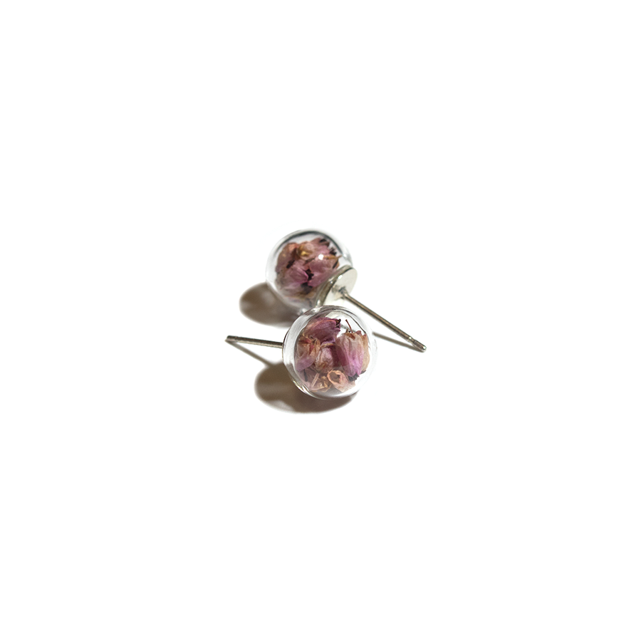 PINK DRIED FLOWERS GLASS EARRINGS
