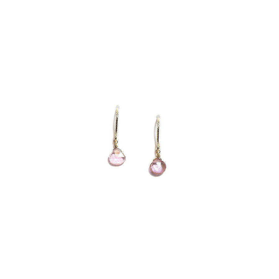 K14 GOLD FILLED PINK TOPAZ HOOK EARRINGS