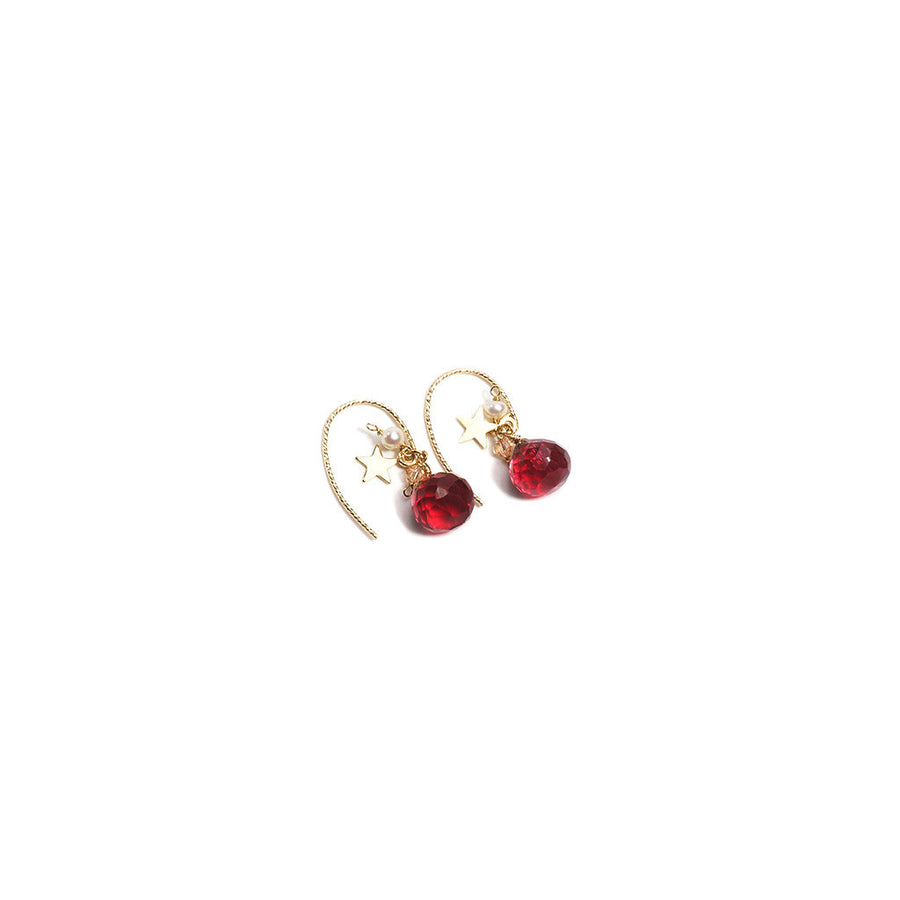K14 GOLD FILLED RED CORUNDUM HOOK EARRINGS