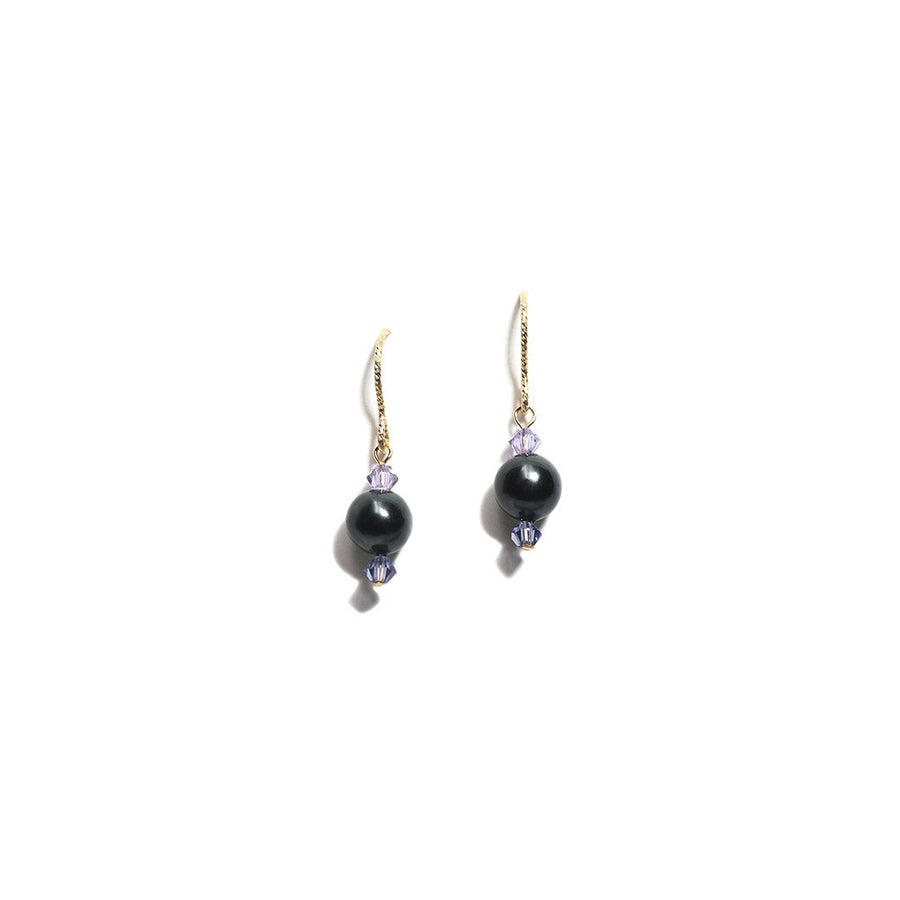 K14 GOLD FILLED IRON GRAY PEARL HOOK EARRINGS
