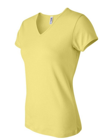 WOMEN'S BABY RIB SHORT-SLEEVE V-NECK TEE