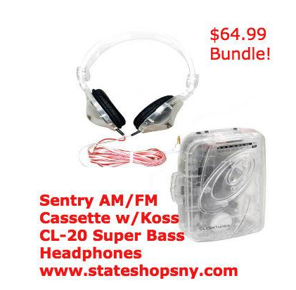 SENTRY CASSETTE PLAYER & CL-20  Super Bass HEADPHONES BUNDLE - State Shops NY