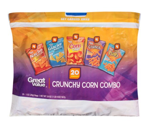 Great Value Crunchy Corn Combo Chips 20 ct