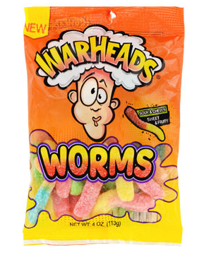 Warheads Gummy Worms Candies, 4-oz. Bags - State Shops NY