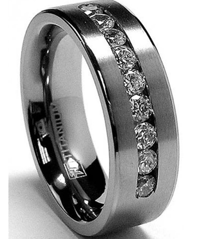 8 MM Men's Titanium Band 9 Channel CZ