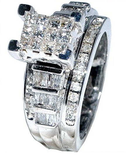 Princess Cut Diamond Wedding Ring 3 in 1 Engagement & Bands White Gold