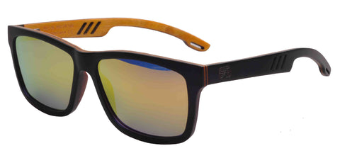 Sunken City San Pedro Cabrillo Hand Made Polarized Skateboard Wood Sunglasses - Black  - (left angle side) image
