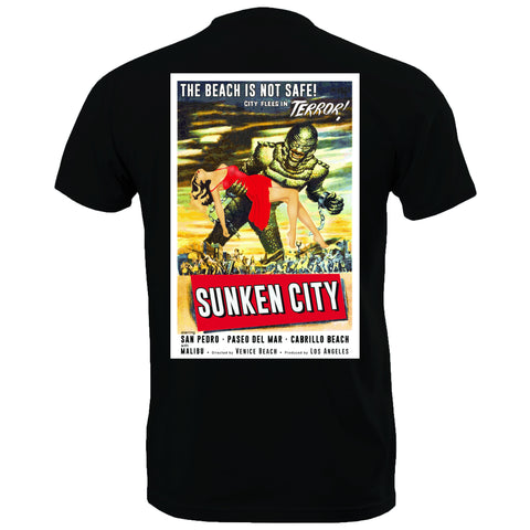 Sunken City San Pedro Pulp Art Horror Poster Tee (Black) Back