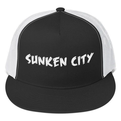 Sunken City San Pedro Trucker Hat. (Black&White)