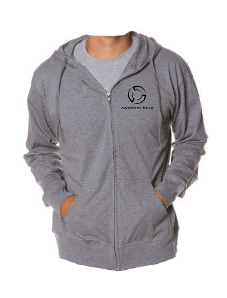 System Blue Full Zip Grey Hoodie