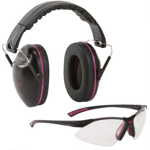 ALLEN GAMMA JUNIOR SHOOTING EARMUFF'S AND SAFETY GLASSES COMBO - BLACK AND ORCHID