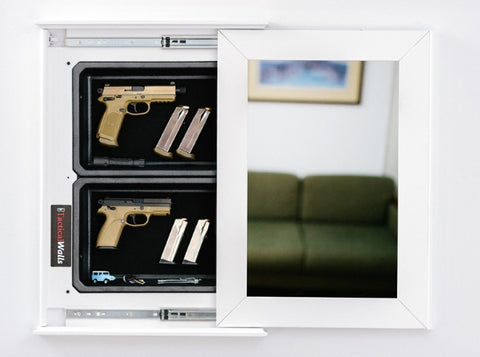 TACTICAL WALLS 1420M BUNDLE PISTOL CABINET WITH MIRROR - WHITE