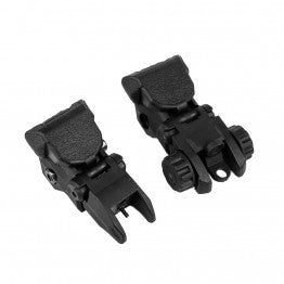 TIGER ROCK TACTICAL POLYMER FLIP UP FRONT AND REAR SIGHT - BLACK