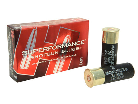 "HORNADY SUPERFORMANCE 12 GAUGE SLUG 2 3/4"" 300 GRAIN MONOFLEX - BOX OF 5"