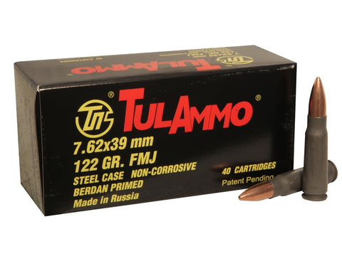 TULAMMO 7.62X39MM 122 GRAIN FMJ STEEL CASED AMMUNITION - 1000 ROUNDS