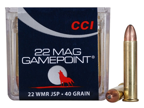 CCI GAMEPOINT AMMUNITION 22 WMR 40 GR JACKETED SPIRE POINT - 50 RD