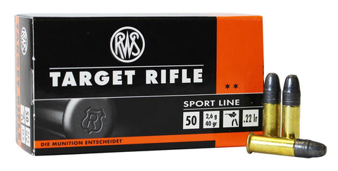 RWS TARGET RIFLE 22LR 40 GRAIN BULLETS - CASE OF 50