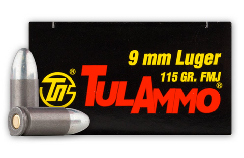 TULAMMO 9MM 115 GR FMJ AMMUNITION - 50 ROUNDS