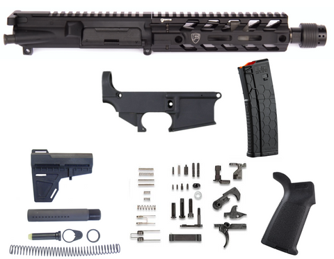 "80% AR15 458 SOCOM 8"" M-LOK FREE FLOAT PISTOL KIT - BLACK"